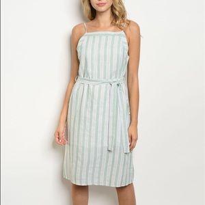 Candy Striped Sea Foam Green Summer Dress (124)